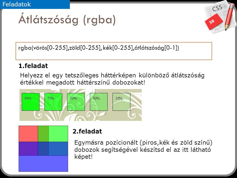 Feladatok Átlátszóság (rgba) rgba(vörös[0-255],zöld[0-255], kék[0-255],átlátszóság[0-1]) 1.feladat.